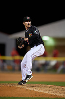 Batavia Muckdogs pitcher Brock Love (32) during a NY-Penn League Semifinal Playoff game against the Lowell Spinners on September 4, 2019 at Dwyer Stadium in Batavia, New York.  Batavia defeated Lowell 4-1.  (Mike Janes/Four Seam Images)