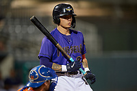 Fort Myers Mighty Mussels Keoni Cavaco (9) bats during a game against the St. Lucie Mets on June 3, 2021 at Hammond Stadium in Fort Myers, Florida.  (Mike Janes/Four Seam Images)