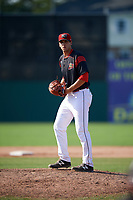 Batavia Muckdogs relief pitcher Colton Hock (13) gets ready to deliver a warmup pitch during the second game of a doubleheader against the Williamsport Crosscutters on August 20, 2017 at Dwyer Stadium in Batavia, New York.  Batavia defeated Williamsport 4-3.  (Mike Janes/Four Seam Images)