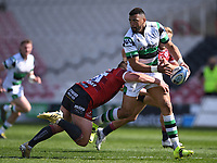 24th April 2021; Kingsholm Stadium, Gloucester, Gloucestershire, England; English Premiership Rugby, Gloucester versus Newcastle Falcons; Luther Burrell of Newcastle Falcons offloads out of the tackle by Jack Singleton of Gloucester