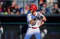 Auburn Doubledays center fielder Ricardo Mendez (17) at bat during a game against the Batavia Muckdogs on June 15, 2018 at Falcon Park in Auburn, New York.  Auburn defeated Batavia 5-1.  (Mike Janes/Four Seam Images)