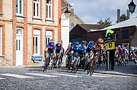 peloton rolling over the cobbles <br /> <br /> 9th Gent-Wevelgem in Flanders Fields 2020<br /> Elite Womens Race (1.WWT)<br /> <br /> One Day Race from Ypres (Ieper) to Wevelgem 141km<br /> <br /> ©kramon