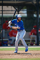 Toronto Blue Jays Johnny Aiello (28) at bat during an Instructional League game against the Philadelphia Phillies on September 27, 2019 at Englebert Complex in Dunedin, Florida.  (Mike Janes/Four Seam Images)