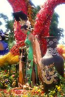 Aloha Festivals Parade float, beautifully decorated with island flowers