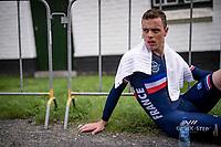 Rémi Cavagna (FRA/Deceuninck - Quick Step) post-finish<br /> <br /> Men Elite Individual Time Trial <br /> from Knokke-Heist to Bruges (43.3 km)<br /> <br /> UCI Road World Championships - Flanders Belgium 2021<br /> <br /> ©kramon