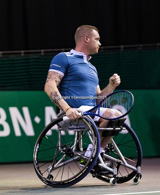 Rotterdam, The Netherlands, 4 march  2021, ABNAMRO World Tennis Tournament, Ahoy, First round wheelchair: Maikel Scheffers (NED).<br /> Photo: www.tennisimages.com/