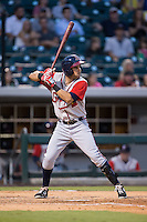 Luis Mateo (1) of the Gwinnett Braves at bat against the Charlotte Knights at BB&T BallPark on August 11, 2015 in Charlotte, North Carolina.  The Knights defeated the Braves 3-2.  (Brian Westerholt/Four Seam Images)