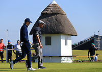 15th July 2021; Royal St Georges Golf Club, Sandwich, Kent, England; The Open Championship, PGA Tour, European Tour Golf, First Round ; Jordan Speith (USA) and Bryson Dechambeau (USA) walk onto the fairway on the opening hole