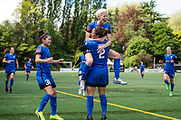 Seattle, WA - Saturday May 13, 2017: Christine Nairn and Megan Rapinoe during a regular season National Women's Soccer League (NWSL) match between the Seattle Reign FC and the Washington Spirit at Memorial Stadium.