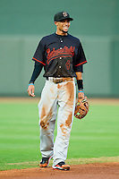 California League All-Star shortstop Billy Hamilton #4 of the Bakersfield Blaze is all smiles during the 2012 California-Carolina League All-Star Game at BB&T Ballpark on June 19, 2012 in Winston-Salem, North Carolina.  The Carolina League defeated the California League 9-1.  (Brian Westerholt/Four Seam Images)