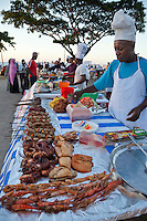 Forodhani Gardens, Stone Town, Zanzibar.  Vendors Serve a Variety of Evening Meals and Snacks.