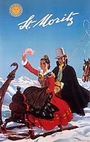 Europe/Suisse/Engadine/St-Moritz: Vieille affiche de la station de sports d'hiver - la luge