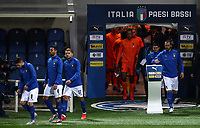 Italy and Netherlands players enter the pitch for the start of their UEFA Nations League football match at Bergamo's Atleti Azzurri d'Italia stadium, October 14, 2020.<br /> UPDATE IMAGES PRESS/Isabella Bonotto