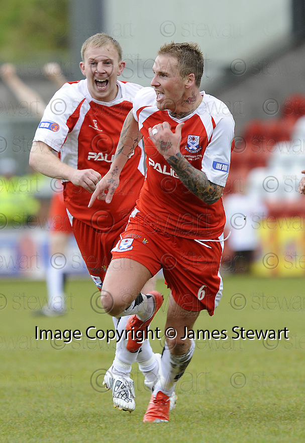 24/05/2009  Copyright  Pic : James Stewart.sct_jspa_03_airdrie_v-Ayr.RYAN STEVENSON CELEBRATES AFTER HE SCORES AYR'S FIRST.James Stewart Photography 19 Carronlea Drive, Falkirk. FK2 8DN      Vat Reg No. 607 6932 25.Telephone      : +44 (0)1324 570291 .Mobile              : +44 (0)7721 416997.E-mail  :  jim@jspa.co.uk.If you require further information then contact Jim Stewart on any of the numbers above.........