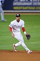 Glendale Desert Dogs shortstop J.P. Crawford (4) fields a ground ball during an Arizona Fall League game against the Salt River Rafters on October 21, 2015 at Camelback Ranch in Glendale, Arizona.  Glendale defeated Salt River 1-0.  (Mike Janes/Four Seam Images)