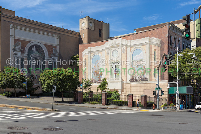 """Two of the """"Gateway to Waterfront"""" murals on building walls in the Richard Haas Mural Historic District in Yonkers, New York."""