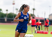 HOUSTON, TX - JUNE 12: Margaret Purce #20 of the USWNT warms up during a training session at University of Houston on June 12, 2021 in Houston, Texas.