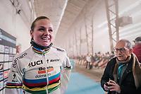 World Champion Chantal Blaak (NED/Boels-Dolmans) ahead of the pre-race team presentation in the legendary Kuipke Velodrome<br /> <br /> <br /> Omloop Het Nieuwsblad 2018<br /> Gent › Meerbeke: 122km (BELGIUM)