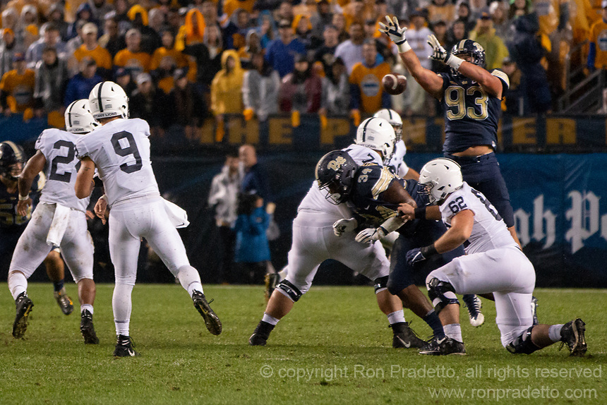 Pitt defensive lineman Shane Roy (93) blocks a pass from Penn State quarterback Trace McSorley. The Penn State Nittany Lions defeated the Pitt Panthers 51-6 on September 08, 2018 at Heinz Field in Pittsburgh, Pennsylvania.