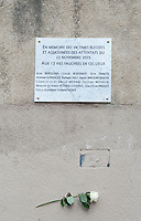 November 13 2017, PARIS FRANCE<br /> the President of France Emmanuel Macron<br /> honors the victims of the 13 november 2015<br /> in the scenes of attacks. A Memorial Plaque<br /> in memory of victims of le Petit Cambodge<br /> and le Carillon restaurants. # HOMMAGE AUX VICTIMES DES ATTENTATS DU 13 NOVEMBRE 2015
