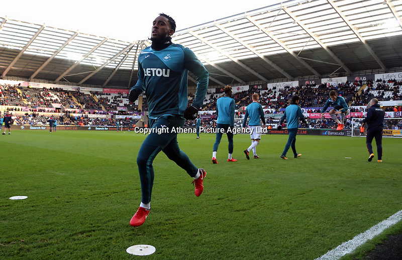 Leroy Fer of Swansea City warms up during the Premier League match between Swansea City and Brighton and Hove Albion at The Liberty Stadium, Swansea, Wales, UK. Saturday 04 November 2017