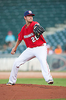 Oklahoma City RedHawks pitcher Brady Rodgers (28) winds up during the Pacific League game against the Colorado Springs Sky Sox at the Chickasaw Bricktown Ballpark on August 3, 2014 in Oklahoma City, Oklahoma.  The RedHawks defeated the Sky Sox 8-1.  (William Purnell/Four Seam Images)