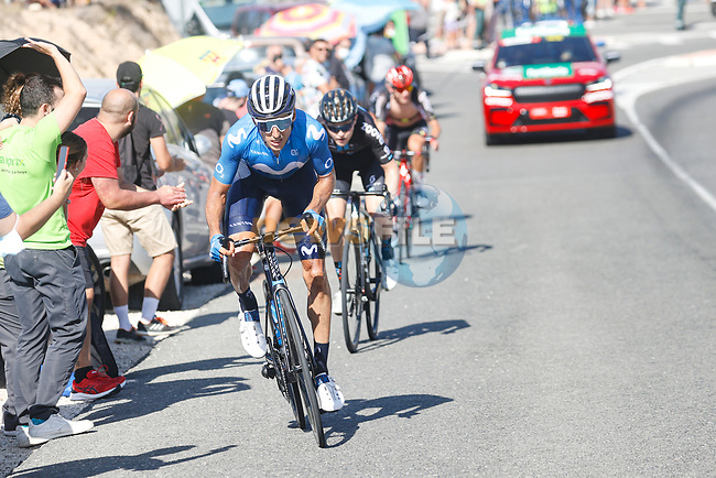 Carlos Verona (ESP) Movistar Team and Michael Storer (AUS) Team DSM attack from the breakaway during Stage 7 of La Vuelta d'Espana 2021, running 152km from Gandia to Balcon de Alicante, Spain. 20th August 2021.     <br /> Picture: Luis Angel Gomez/Photogomezsport   Cyclefile<br /> <br /> All photos usage must carry mandatory copyright credit (© Cyclefile   Luis Angel Gomez/Photogomezsport)