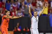 Atlanta, GA - Sunday Sept. 18, 2016: Morgan Brian celebrates a goal during a international friendly match between United States (USA) and Netherlands (NED) at Georgia Dome.