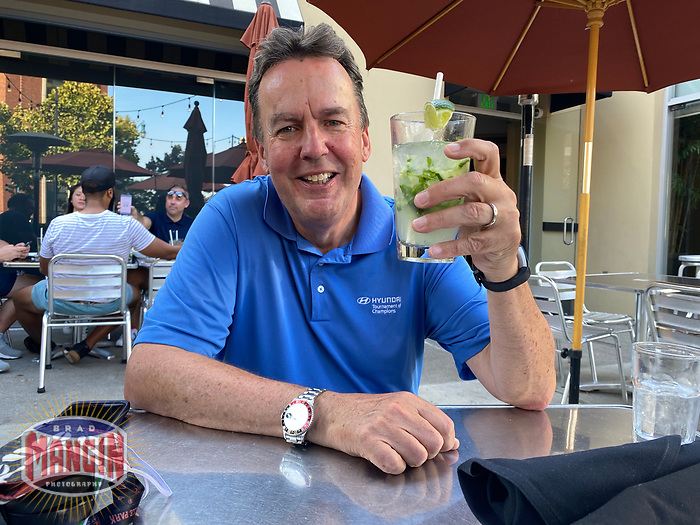 SAN FRANCISCO, CA - SEPTEMBER 27:  Associated Press photographer Eric Risberg enjoys a cocktail after the game between the San Diego Padres and San Francisco Giants at Momo's on Sunday, September 27, 2020 in San Francisco, California. (Photo by Brad Mangin)