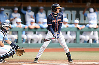 CHAPEL HILL, NC - FEBRUARY 27: Nic Kent #4 of Virginia waits for a pitch during a game between Virginia and North Carolina at Boshamer Stadium on February 27, 2021 in Chapel Hill, North Carolina.