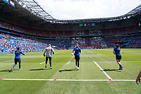 LYON, FRANCE - JULY 07: USWNT goalkeepers warm up during a game between Netherlands and USWNT at Stade de Lyon on July 07, 2019 in Lyon, France.