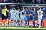 Real Madrid's Isco Alarcon, Garet Bale, Luka Modric, Raphael Varane, Carlos Henrique Casemiro, Karim Benzema and Toni Kroos celebrate goal in presence of Getafe CF's Faycal Fajr dejected during La Liga match. January 4,2020. (ALTERPHOTOS/Acero)