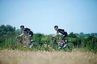 David Lopez (ESP/SKY) & Bernie Eisel (AUT/SKY)<br /> <br /> 2014 Tour de France<br /> stage 4: Le Touquet-Paris-Plage/Lille Métropole (163km)