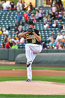 Salt Lake Bees starting pitcher Drew Rucinski (22) delivers a pitch to the plate against the Tacoma Rainiers in Pacific Coast League action at Smith's Ballpark on August 31, 2015 in Salt Lake City, Utah. Salt Lake defeated Tacoma 6-5. (Stephen Smith/Four Seam Images)