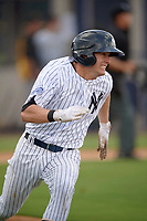 New York Yankees second baseman Nick Solak (2) runs to first after hitting a triple during an Instructional League game against the Pittsburgh Pirates on September 29, 2017 at the Yankees Minor League Complex in Tampa, Florida.  (Mike Janes/Four Seam Images)