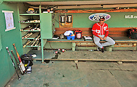 9 June 2012: Washington Nationals bench coach Randy Knorr sits in the dugout prior to a game against the Boston Red Sox at Fenway Park in Boston, MA. The Nationals defeated the Red Sox 4-2 in the second game of their 3-game series. Mandatory Credit: Ed Wolfstein Photo