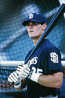 Ben Davis of the San Diego Padres before a 1999 Major League Baseball season game against the Anaheim Angels in Anaheim, California. (Larry Goren/Four Seam Images)