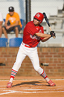 Robert Stock #35 of the Johnson City Cardinals at bat versus the Burlington Royals at Howard Johnson Stadium June 27, 2009 in Johnson City, Tennessee. (Photo by Brian Westerholt / Four Seam Images)
