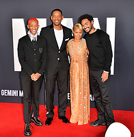 "LOS ANGELES, USA. October 07, 2019: Jaden Smith, Will Smith, Jada Pinkett Smith & Trey Smith at the premiere of ""Gemini Man"" at the TCL Chinese Theatre, Hollywood.<br /> Picture: Paul Smith/Featureflash"