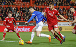 06.02.2019:Aberdeen v Rangers: Ryan Jack pulled back in the box by Tommie Hoban