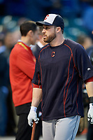 Cleveland Indians Jason Kipnis (22) during practice before Game 3 of the Major League Baseball World Series against the Chicago Cubs on October 28, 2016 at Wrigley Field in Chicago, Illinois.  (Mike Janes/Four Seam Images)