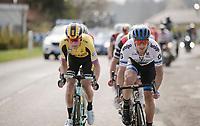Matteo TRENTIN (ITA/Mitchelton-Scott) & Mike Teunissen (NED/Jumbo-Visma) at the front of the race<br /> <br /> 81st Gent-Wevelgem 'in Flanders Fields' 2019<br /> One day race (1.UWT) from Deinze to Wevelgem (BEL/251km)<br /> <br /> ©kramon