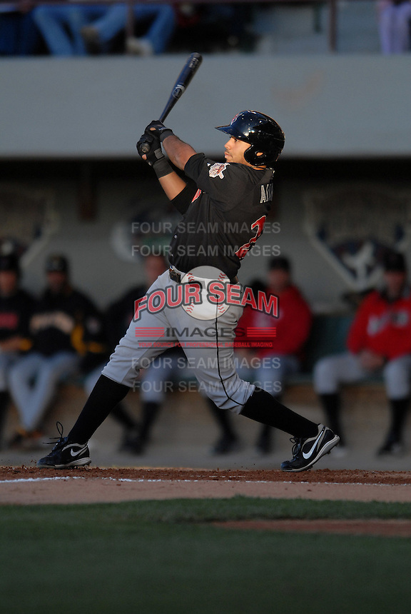 3B Pedro Alvarez of the  Indianapolis Indians, the AAA International League affiliate of the Pittsburgh Pirates,  at McCoy Stadium in Pawtucket, RI on April 29, 2010 (Photo by Ken Babbitt/Four Seam Images)