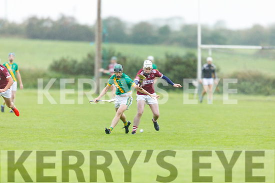 Tussle for possession between James Godley of Kilmoyley and Paul McGrath of Causeway in the North Kerry Senior Hurling Championship final