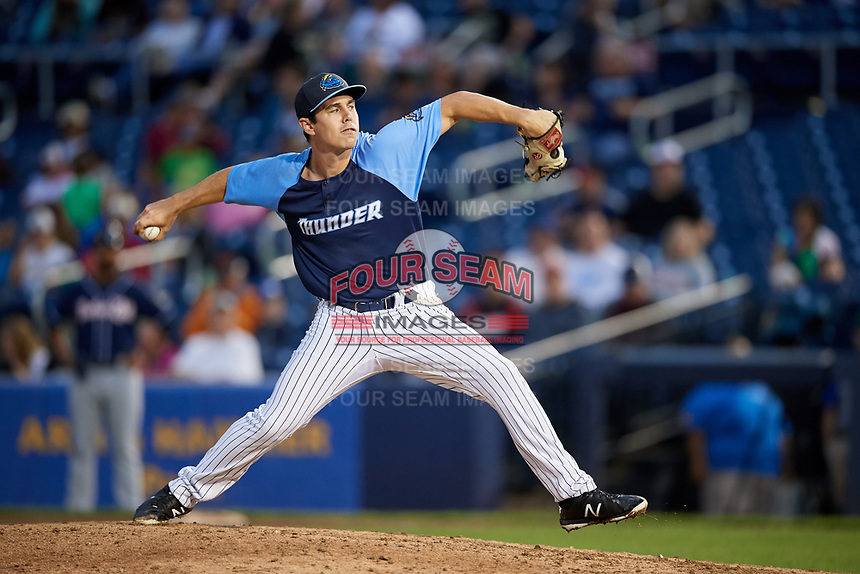 Trenton Thunder relief pitcher Chase Hodson (24) delivers a pitch during a game against the New Hampshire Fisher Cats on August 19, 2018 at ARM & HAMMER Park in Trenton, New Jersey.  New Hampshire defeated Trenton 12-1.  (Mike Janes/Four Seam Images)