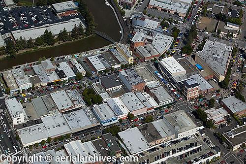 aerial photograph vintage car show downtown Petaluma, Sonoma county, California