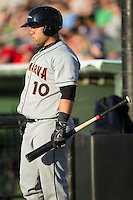 D.J. Stewart (10) of the Delmarva Shorebirds waits for his turn to bat during the game against the Kannapolis Intimidators at Kannapolis Intimidators Stadium on April 23, 2016 in Kannapolis, North Carolina.  The Shorebirds defeated the Intimidators 4-2.  (Brian Westerholt/Four Seam Images)