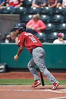 Lehigh Valley IronPigs outfielder Nick Williams (19) hits a home run during a game against the Columbus Clippers on May 12, 2016 at Huntington Park in Columbus, Ohio.  Lehigh Valley defeated Columbus 2-1.  (Mike Janes/Four Seam Images)