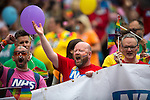 © Joel Goodman - 07973 332324 . 27/08/2016 . Manchester , UK . NHS . Annual Pride Parade through Manchester City Centre as part of Manchester Gay Pride's Big Weekend . Photo credit : Joel Goodman