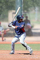 Cleveland Indians shortstop Claudio Bautista (1) during an instructional league game against the Cincinnati Reds on September 28, 2013 at Goodyear Training Complex in Goodyear, Arizona.  (Mike Janes/Four Seam Images)
